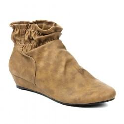 Bota Unkle Boot Feminina Caramelo em Couro Salto Baixo
