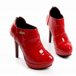 Bota Feminina Unkle Boot Vermelha Salto Alto