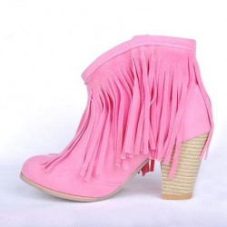 Bota Feminina Unkle Boot Rosa Couro Franjas