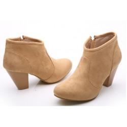 Bota Feminina Cano Curto Ankle Boot Nude
