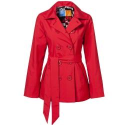 Casaco Feminino Inverno Trench Coat Vermelho