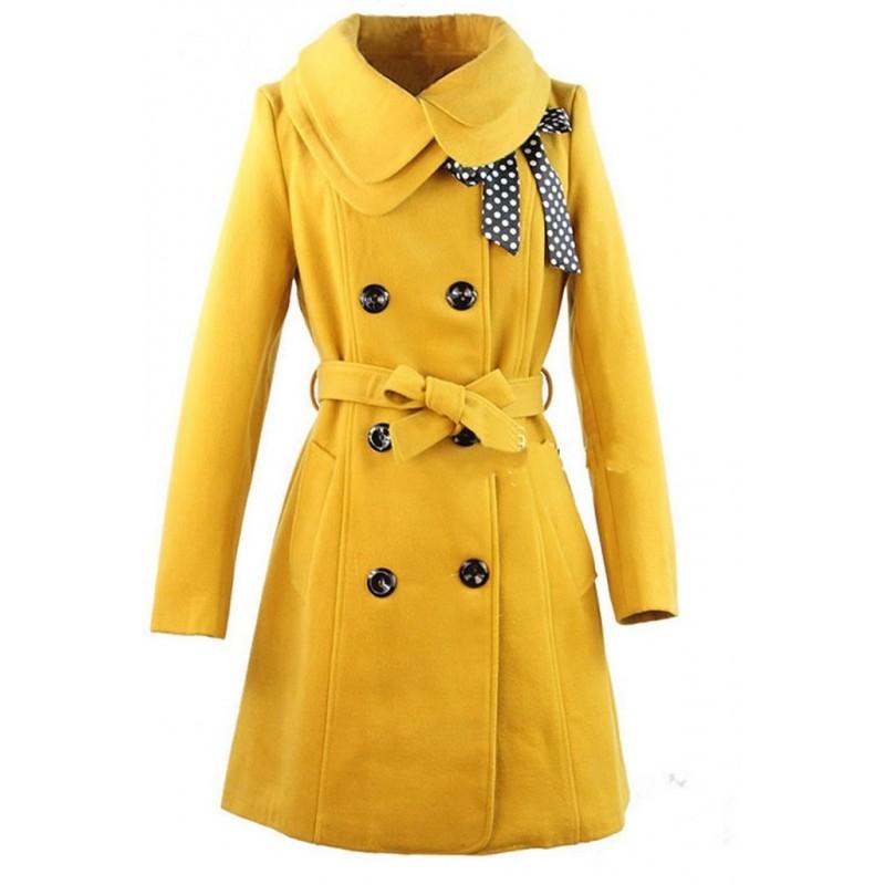 Casaco Feminino Inverno Trench Coat Mostarda