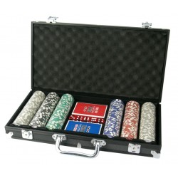 Kit Poker Maleta em Alumínio 300 Fichas Dois Baralhos Cinco Dados