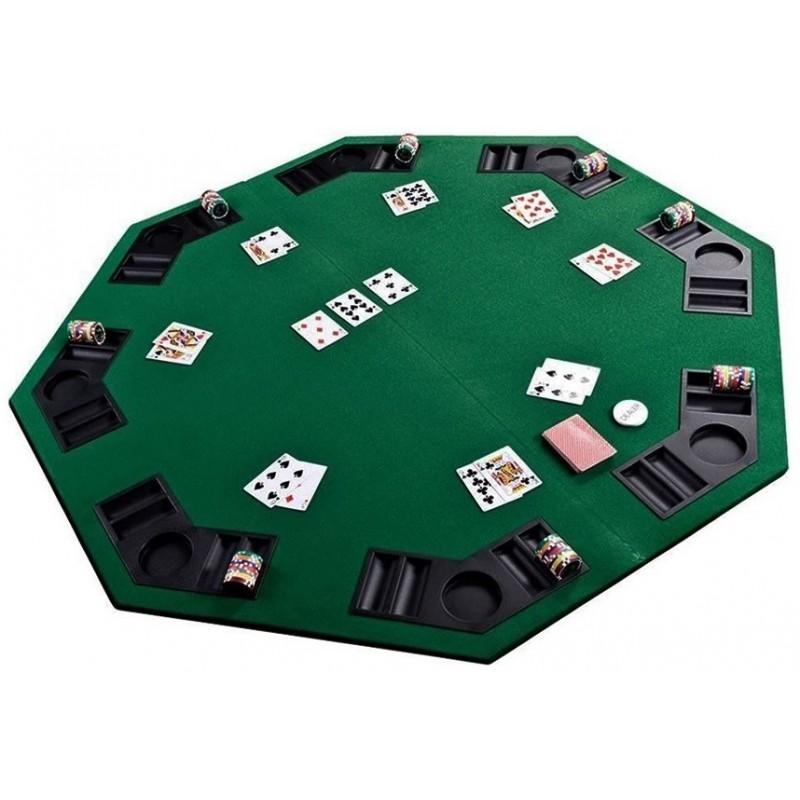 Tampo de Mesa Poker Dobrável Octagonal Portátil
