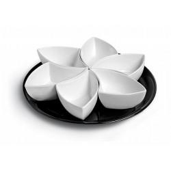 Petisqueira Porcelana Branca Base Preta