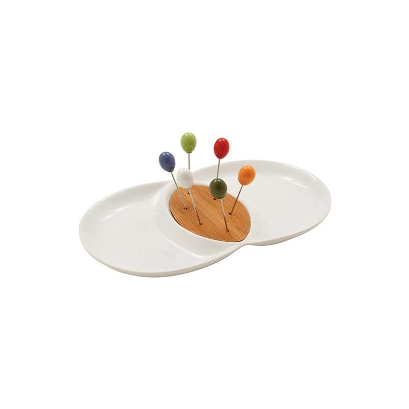 Petisqueira Porcelana Branco com Palitos Coloridos Presente Criativo