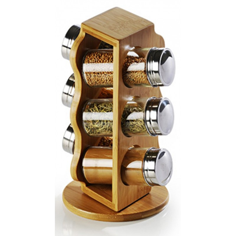Porta Condimentos em Bambu Vidro e Inox Giratório