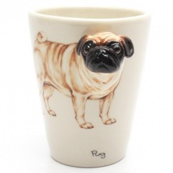 Caneca de Café Pug Bege Presente Criativo