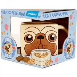 Caneca de Café Quadrada Desenho de Cachorro Pug Presente Criativo