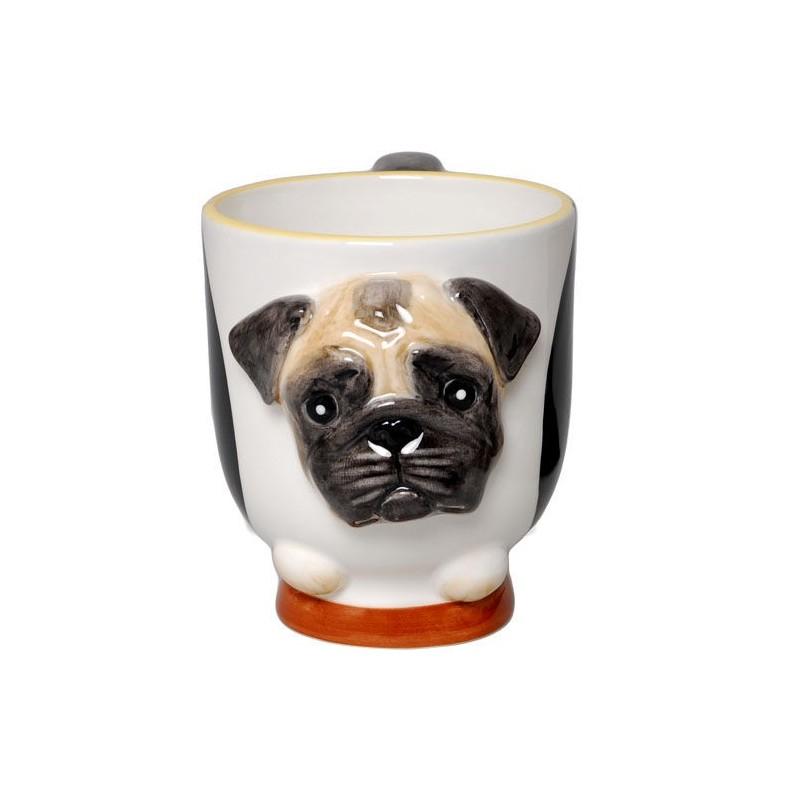 Caneca de Café Forma de Cachorro Pug Presente Criativo