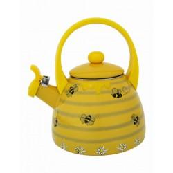 Chaleira Decorativa Esmaltada Amarela Abelhas com Apito