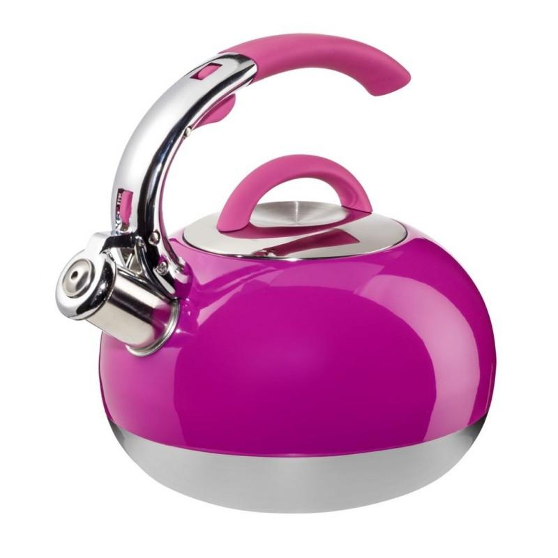 Chaleira Inox Pink Cabo de Silicone Design Moderno com Apito