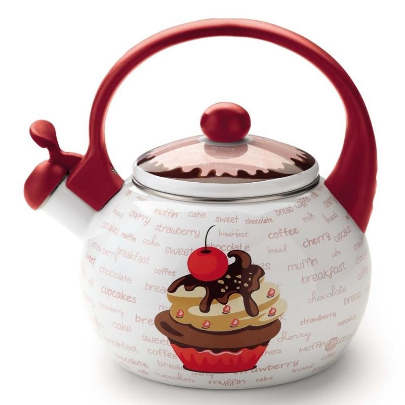 Chaleira Decorativa Esmaltada Cupcake Cereja