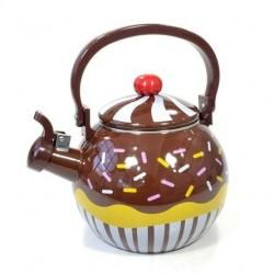 Chaleira Decorativa Esmaltada Cupcake Chocolate