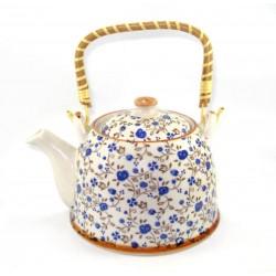 Chaleira Decorativa Porcelana Floral Azul