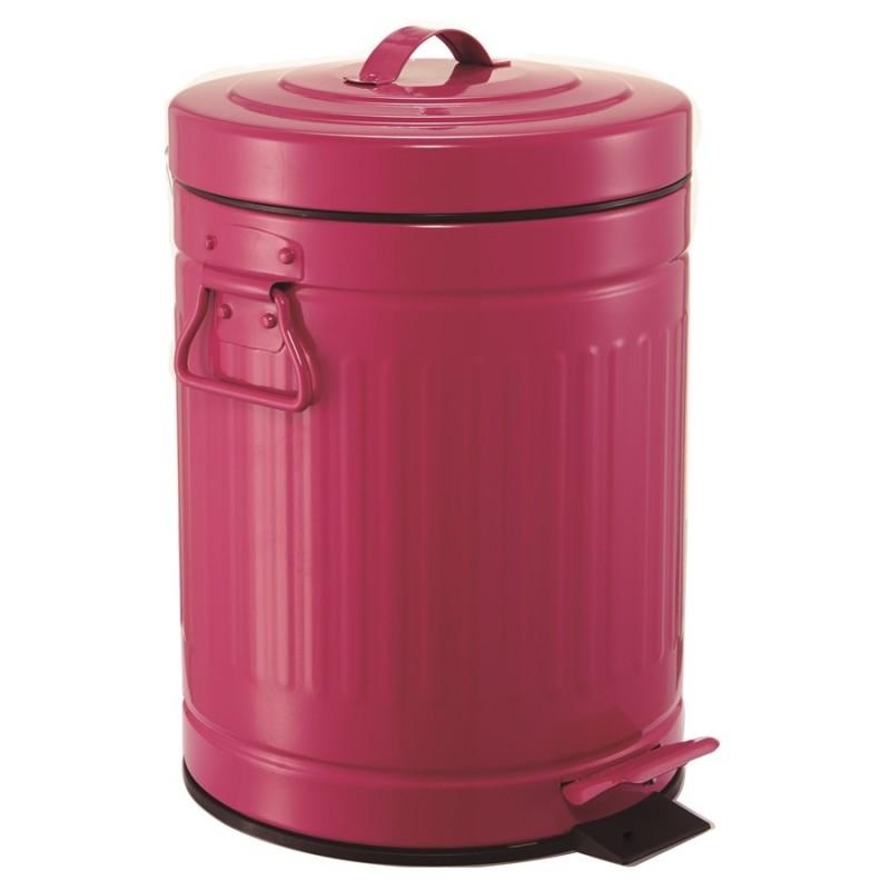 Lixeira Retrô Rosa Pink Metálica 3L