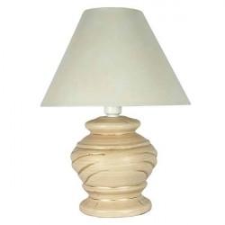 Abajur Alfa Luz Redondo Cerâmica e Tecido Bege 1 Lâmpada Bivolt