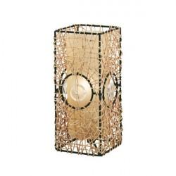 Abajur Eglo Quadrado Fibra, Metal e Vidro Bege 1 Lâmpada Bivolt