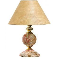 Abajur Espaço Luz Redondo Cerâmica e Tecido Laranja 1 Lâmpada Bivolt