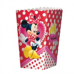 Caixinha para Pipoca Minnie Vermelha Papel Cartão Decoração Festa