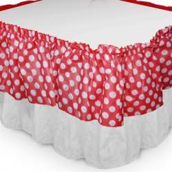 Saia com Babado para Mesa Vermelha e Branca Poá Festa Infantil