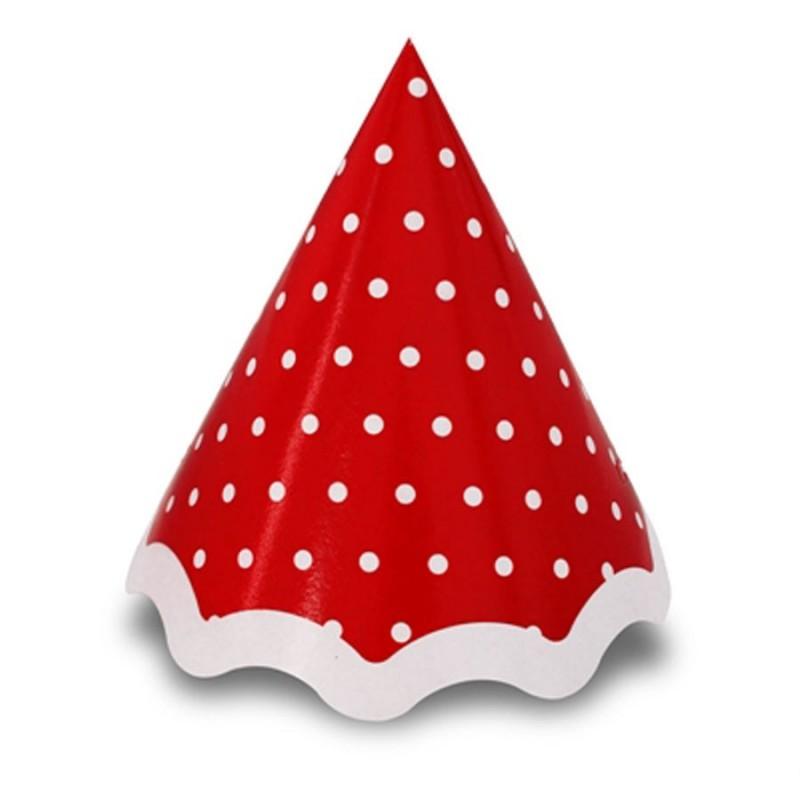 Chapéuzinho de Festa Vermelho e Branco Poá