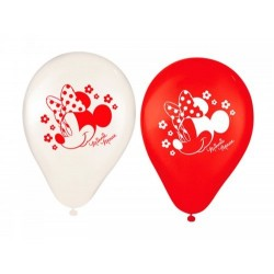 Balão Bexiga Vermelho e Branco Minnie Festa Infantil