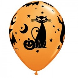 Balão Bexiga Abóbora Gato Preto Laranjada Decoração Halloween