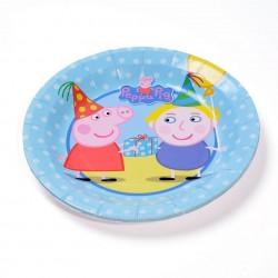 Pratinho Plástico Descartável Peppa Pig Azul Festa Infantil