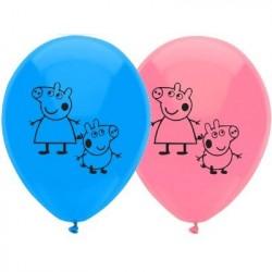 Bexiga Balão Rosa e Azul Peppa Pig Látex Festa Infantil
