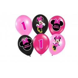 Balões Rosa e Preto Minnie Baby 1 ano Festa Infantil 24un