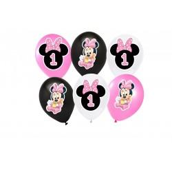 Balões Minnie Baby 1 ano Festa Infantil 24un