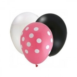 Balões Minnie Baby Rosa Preto e Branco Festa Infantil 24un