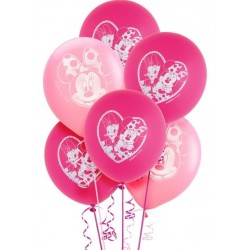 Balões Minnie Rosa Branco Festa Infantil 24un