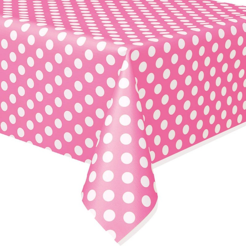 Toalha Plástica de mesa Rosa Poá Decoração Festa