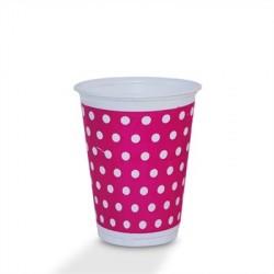 Copo Descartável Plástico Poá Rosa e Branco Decoração Festa