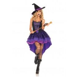 Fantasia Bruxa Sexy Feminina Roxo e Preto Halloween Festa