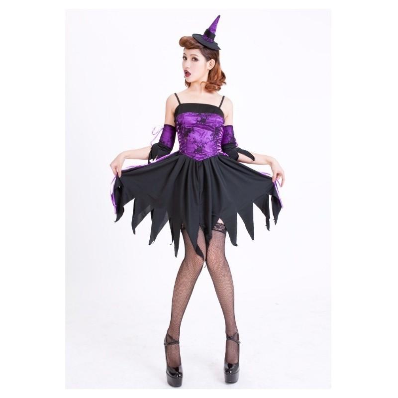 eb2411c3302ac6 Fantasia Bruxa Gótica Feminina Roxa Halloween Festa