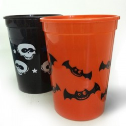 Copos Plásticos Halloween 2un Preto e Laranjado