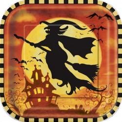 Pratinho Descartável Quadrado Festa Halloween Bruxa 10un