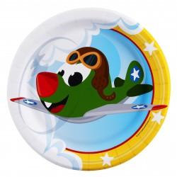 Pratinho Descartável Tema Aviões Festa Infantil Meninos 10un