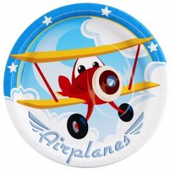 Prato Descartável Tema Aviões Festa Infantil Meninos 10un