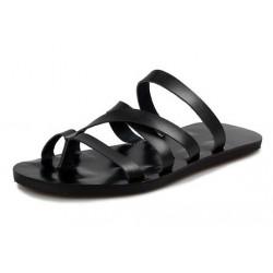 Sandália Gladiador Masculina Couro Preta Verão