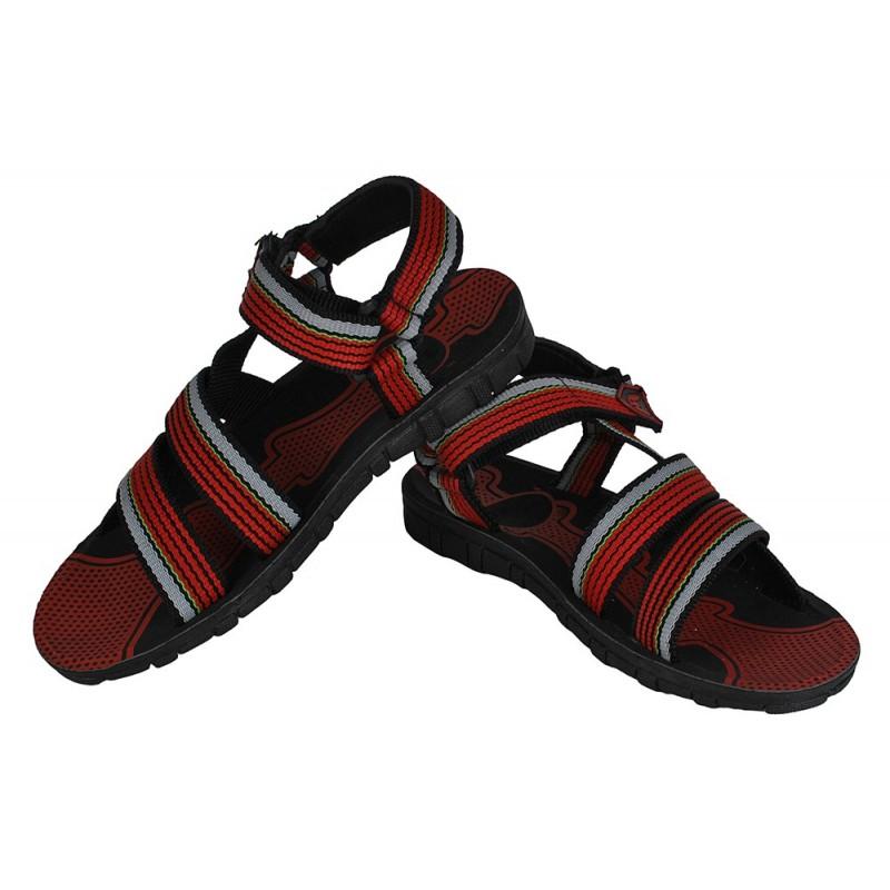 Sandália Masculina Casual Preta Vermelha