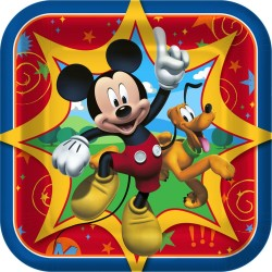 Prato de Papel Quadrado Mickey Mouse Festa Infantil com 12un