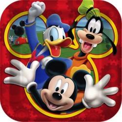Prato Descartável de Papel Quadrado Mickey Mouse Festa Infantil com 12un