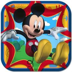 Pratinho Descartável de Papel Quadrado Mickey Mouse Festa Infantil com 12un