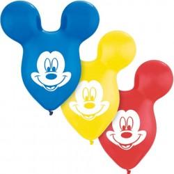 Bexigas de Látex Forma de Mickey Mouse Aniversário Infantil 24un