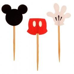 Enfeites para Cupcake e Doces Mickey Mouse Festa Infantil 24un