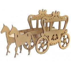 Carruagem de Madeira com Cavalos em MDF Enfeite para Festa Infantil